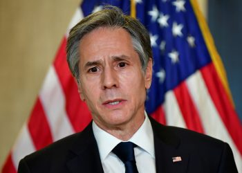 U.S. Secretary of State Antony Blinken addresses the media following the closed-door morning talks between the United States and China upon conclusion of their two-day meetings in Anchorage, Alaska March 19, 2021. Frederic J. Brown/Pool via REUTERS